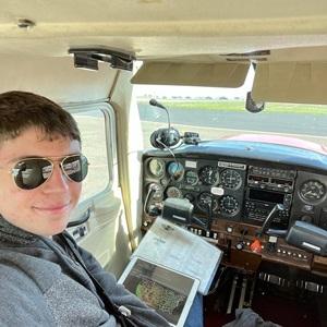 Carson in the cockpit